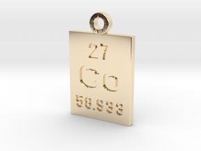 Co Periodic Pendant in 14k Gold Plated Brass