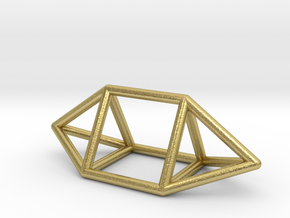 0755 J14 Elongated Triangular Bpyramid (a=1cm) #1 in Natural Brass
