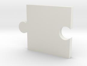 Square Puzzle Piece  in White Natural Versatile Plastic