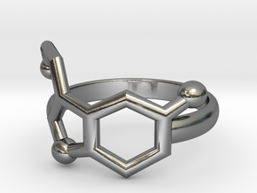 Serotonin Molecule Ring Minimal in Polished Silver: 3.5 / 45.25