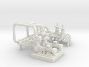 O Scale Pump Unit in White Natural Versatile Plastic