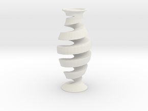 Spiral Vase in White Natural Versatile Plastic
