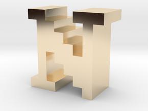 """N"" inch size NES style pixel art font block in 14K Yellow Gold"