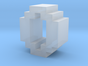 """""""O"""" inch size NES style pixel art font block in Smooth Fine Detail Plastic"""