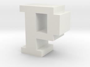 """P"" inch size NES style pixel art font block in White Natural Versatile Plastic"