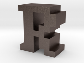 """R"" inch size NES style pixel art font block in Polished Bronzed-Silver Steel"