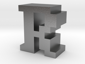 """""""R"""" inch size NES style pixel art font block in Natural Silver"""