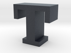 """T"" inch size NES style pixel art font block in Black Professional Plastic"