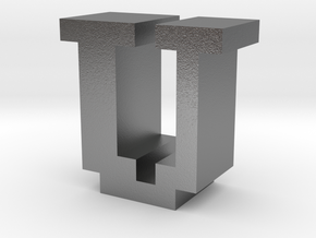 """""""U"""" inch size NES style pixel art font block in Natural Silver"""