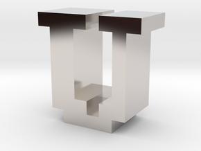 """U"" inch size NES style pixel art font block in Rhodium Plated Brass"