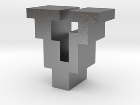 """""""V"""" inch size NES style pixel art font block in Natural Silver"""