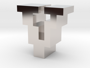 """""""V"""" inch size NES style pixel art font block in Rhodium Plated Brass"""