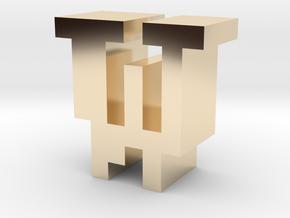 """W"" inch size NES style pixel art font block in 14K Yellow Gold"