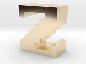 """Z"" inch size NES style pixel art font block in 14K Yellow Gold"
