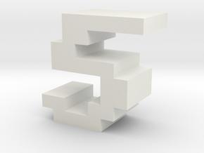 """5"" inch size NES style pixel art font block in White Natural Versatile Plastic"