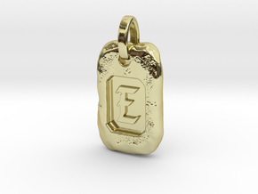 Old Gold Nugget Pendant E in 18k Gold Plated Brass