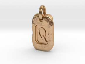 Old Gold Nugget Pendant Q in Polished Bronze