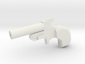 Miniature Derringer Handgun - 10cm in White Natural Versatile Plastic