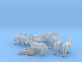 13 N Scale Horses in Smooth Fine Detail Plastic