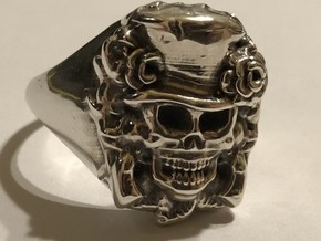 Skull Ring  in Polished Bronzed-Silver Steel: 7 / 54
