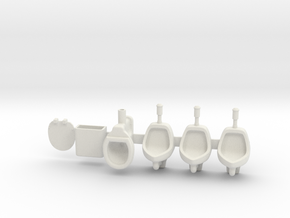 Toilet and urinals 01.  1:22.5 Scale in White Natural Versatile Plastic