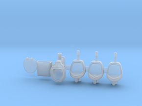 Toilet and urinals 01.  1:22.5 Scale in Smooth Fine Detail Plastic