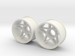 """2WD - Jantes arrière """"FIVE"""" - 20,5mm in White Natural Versatile Plastic"""