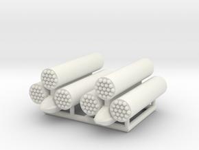 (1:72) x2 Rocket Launcher Triplet in White Natural Versatile Plastic