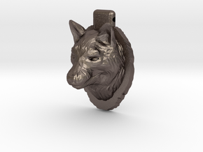 Wolf Pendant in Polished Bronzed-Silver Steel