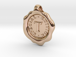 Seal Pendant T in 14k Rose Gold Plated Brass