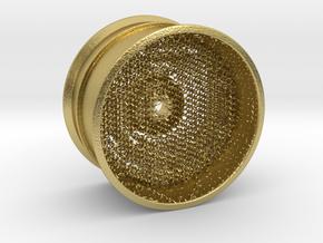 RC Car Rim 1:14 Hexagonal Grid 03 in Natural Brass (Interlocking Parts)