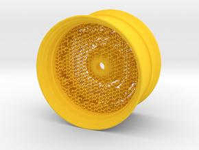 RC Car Rim 1:14 Hexagonal Grid 04 in Yellow Processed Versatile Plastic