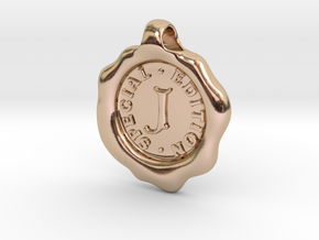 Seal Pendant J in 14k Rose Gold Plated Brass