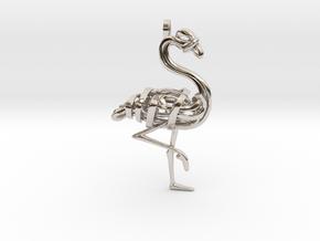 Flamingo Pendant in Rhodium Plated Brass
