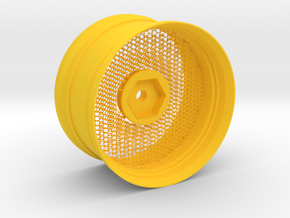 Hexagonal Grid Rim 1:10 Scale in Yellow Processed Versatile Plastic
