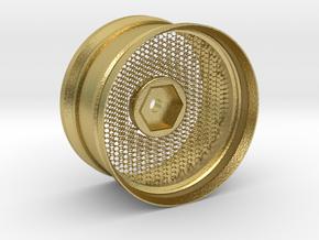 Hexagonal Grid Rim 1:10 Scale in Natural Brass