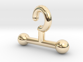 Time Traveler T Hook in 14k Gold Plated Brass