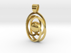 Abstract atom [pendant] in Polished Brass