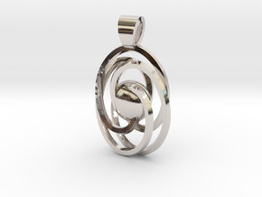 Abstract atom [pendant] in Rhodium Plated Brass