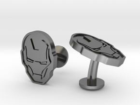 Iron Man Cufflinks in Polished Silver