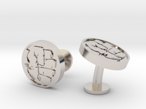 Hulk Fist Cufflinks in Rhodium Plated Brass