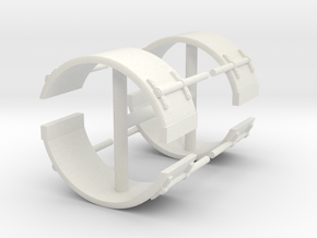1/50th Single smooth truck fenders w brackets in White Natural Versatile Plastic