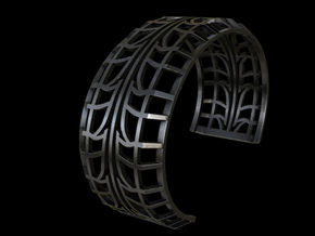 Tire Bracelet in Polished and Bronzed Black Steel