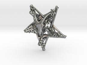 Inverted Pentagram Goat Bone Pendant in Natural Silver