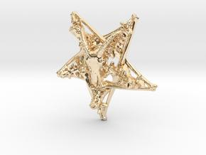 Inverted Pentagram Goat Bone Pendant in 14k Gold Plated Brass