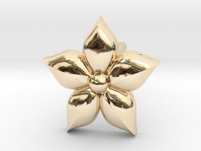 Puffed Flower Earring  in 14K Yellow Gold