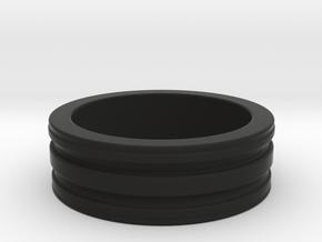 Ridged Ring in Black Natural Versatile Plastic: 4 / 46.5
