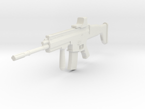 1:6 Miniature FN Scar Mk16 Gun in White Natural Versatile Plastic