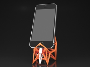 Smartphone Stand Type A in Orange Processed Versatile Plastic