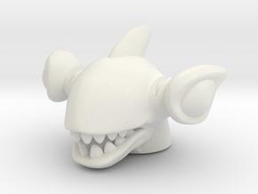 Shark Rulon Head (Multisize) in White Natural Versatile Plastic: Large
